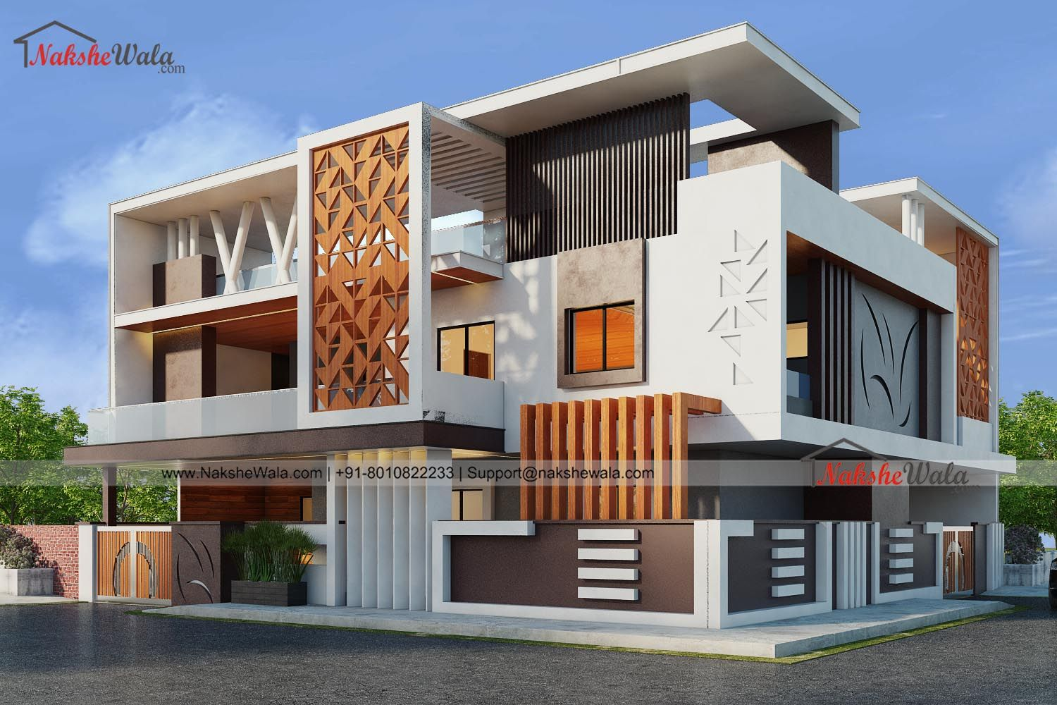 Modern Duplex House 3D Front Elevation   Small house ...