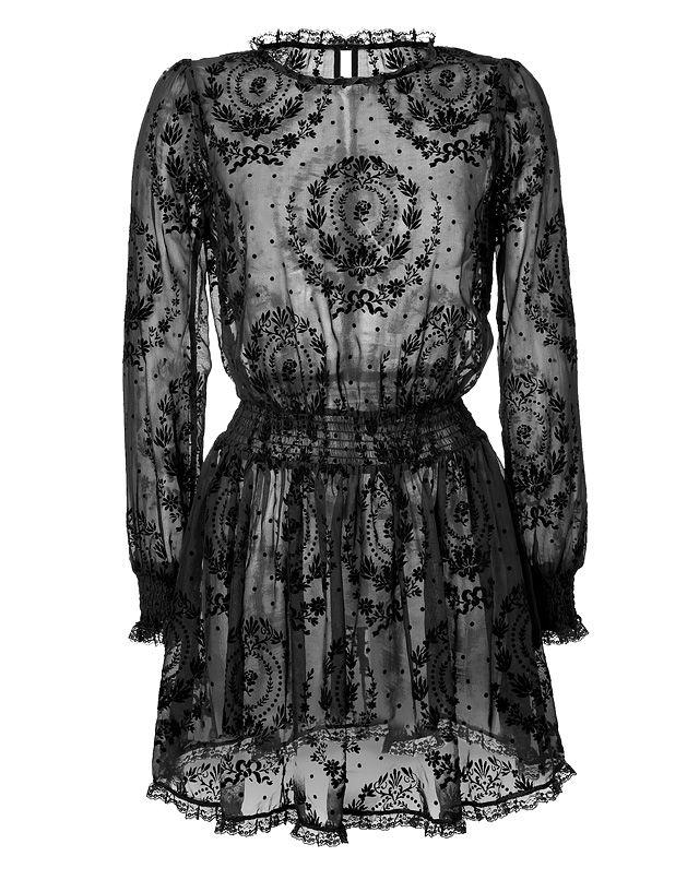 Ornate velvet patterning lends an opulent look to this sheer silk dress from RED Valentino #Stylebop