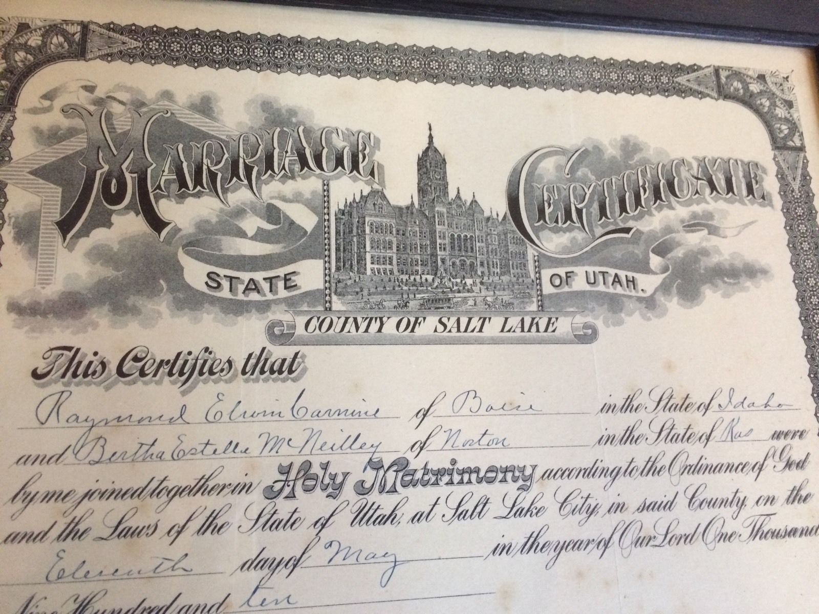 1910 Utah Lds Mormon Marriage Certificate Vintage Frame County