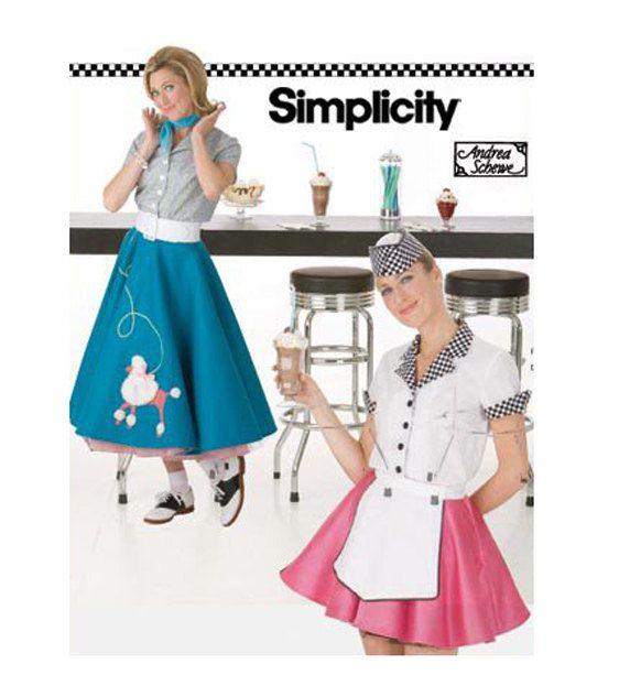 1950s SOCK HOP POODLE Skirt Drive In Soda Jerk Waitress Patterns Retro Costume Simplicity