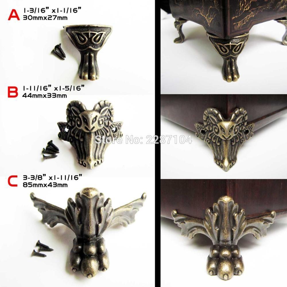 4x Decorative Antique Brass Vintage Lion Goat Jewelry Chest Box Wood Case Furniture  Feet Leg Corner