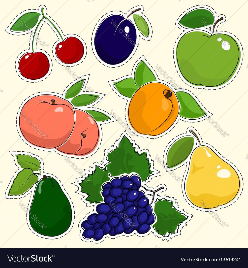 Set of Fruit Stickers, Pins or Patches. Cherry with Plum