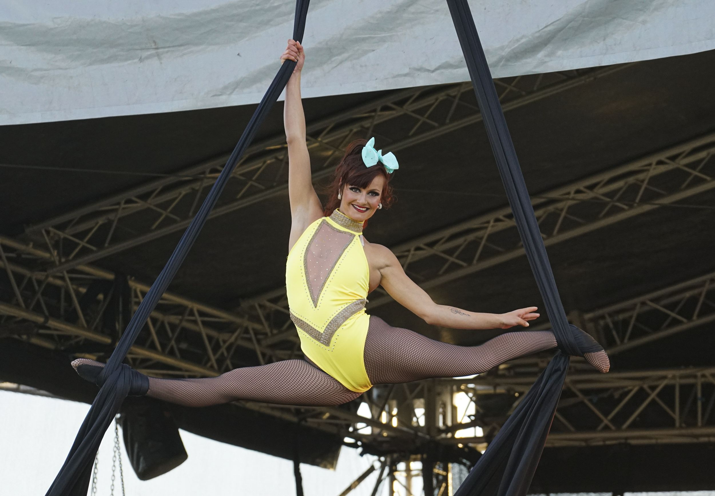 The circus performers show their skills on the opening
