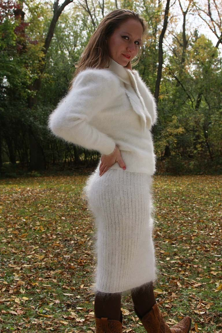 Angora sweater and mohair skirt | Woman's Fuzzy Sweaters ...