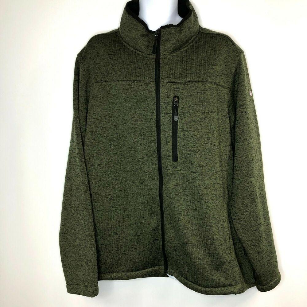 Swiss Tech Mens Green Full Zip Jacket Sweatshirt Soft
