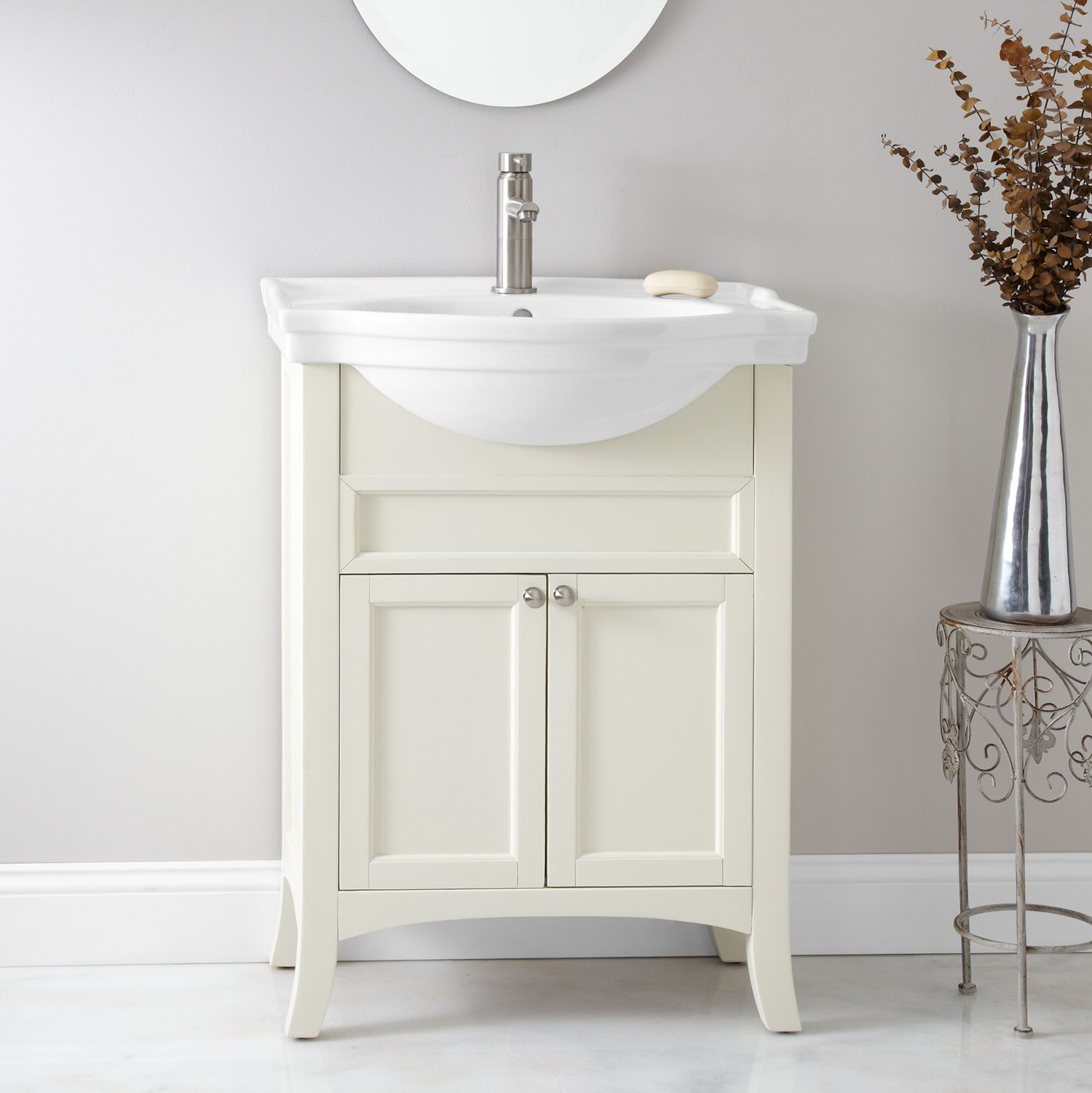 24 riggs vanity cabinet with semi recessed basin small - Lowes semi custom bathroom cabinets ...