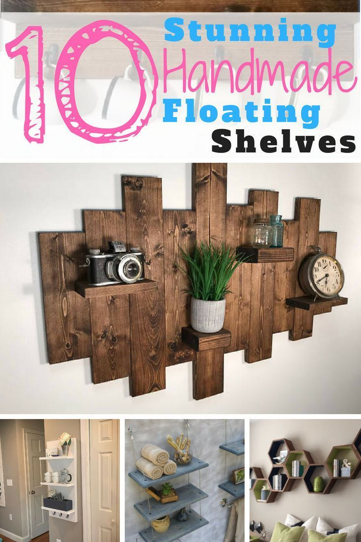 10 Handmade Floating Shelf Ideas is part of Home Accessories Decor Shelves - Clever and attractive ways to add storage in any room