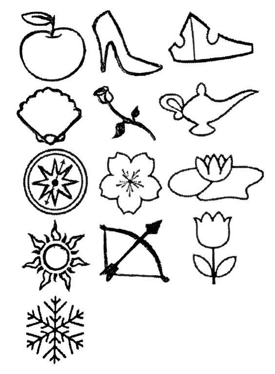 Disney Princess Disney Princesses Tattoo With A Symbol For Each