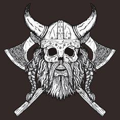 Bearded Viking Skull Viking Skull Tattoos Tattoos Nordic Tattoo