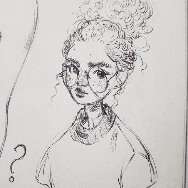 Photo of Miss Fluffy Bun * * * #art #drawing #sketch #sketchbook #sketchy # black and white #monochrome #ink #drawing #ball # portrait – Nayara Victorio – heart