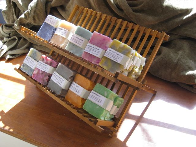 "I always see these cheap wooden dish racks in dollar stores and think, ""Yeah, right.  Like I am going to put heavy, wet dishes on that cheap wood rack. Not.""  However.....it does make an excellent soap display!"