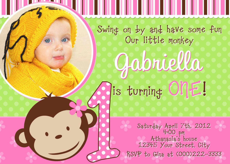 Mod monkey girl birthday invitation you print monkey birthday mod monkey girl birthday invitation you print filmwisefo Choice Image