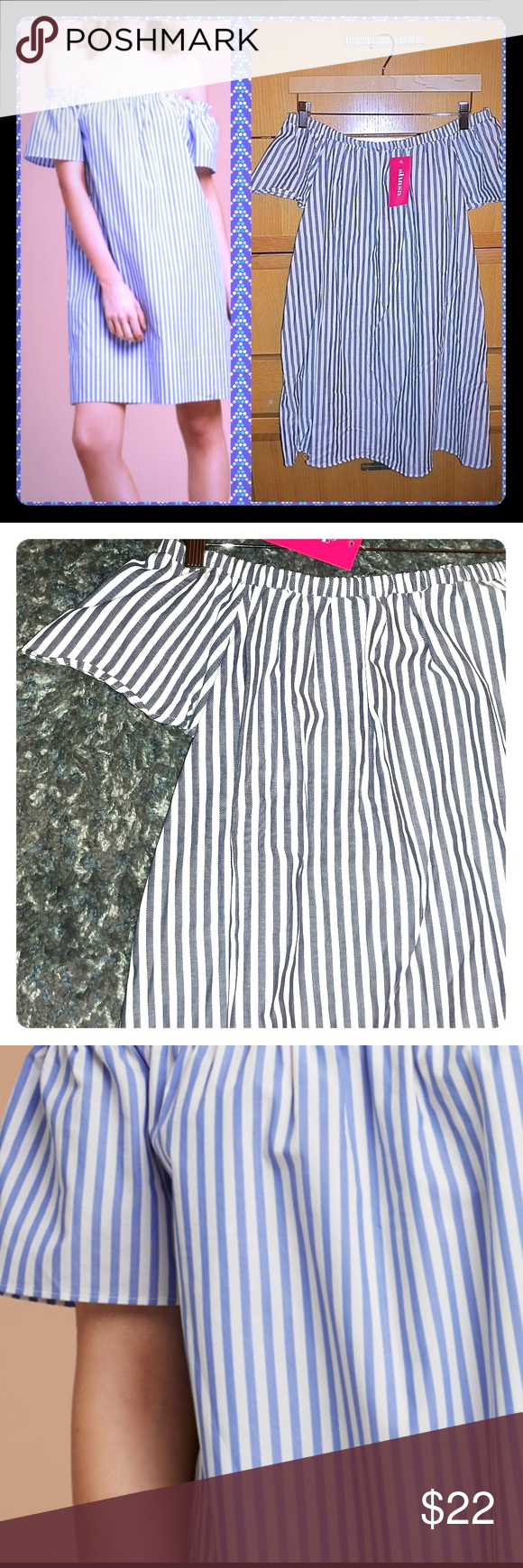 LAST CHANCE !! Off the shoulders striped dress This dress is made with an exceptionally soft cotton poplin that's lightweight and breezy. The off-the-shoulder silhouette lets you show off a little skin when the sun comes out.🌞 Content: 100% cotton  Care: Machine wash  Can be use as a dress or as a long blouse with your favorite leggings shasa Dresses Mini