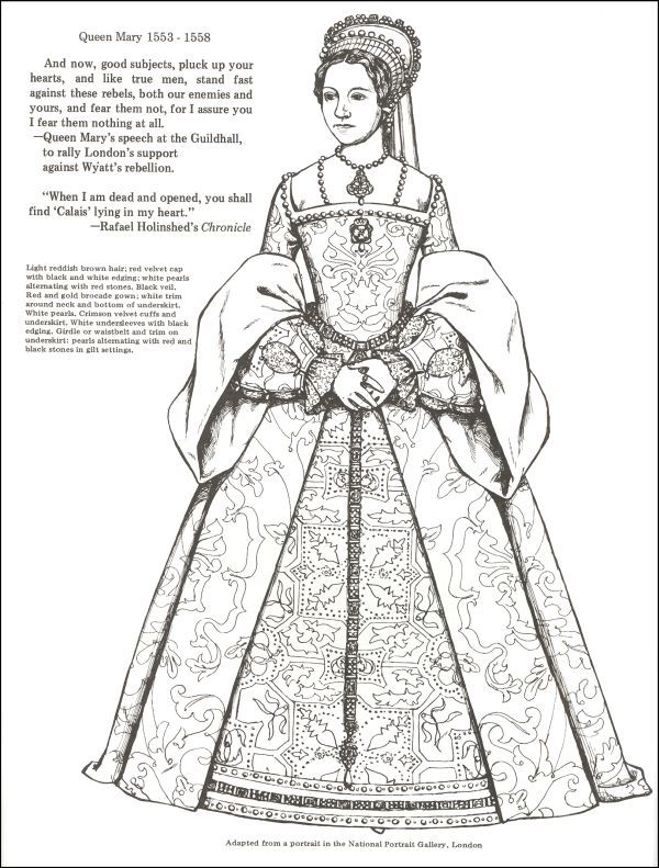Kings And Queens Of England To Color Additional Photo Inside Page Tudor Fashion Elizabethan Fashion Colouring Pages