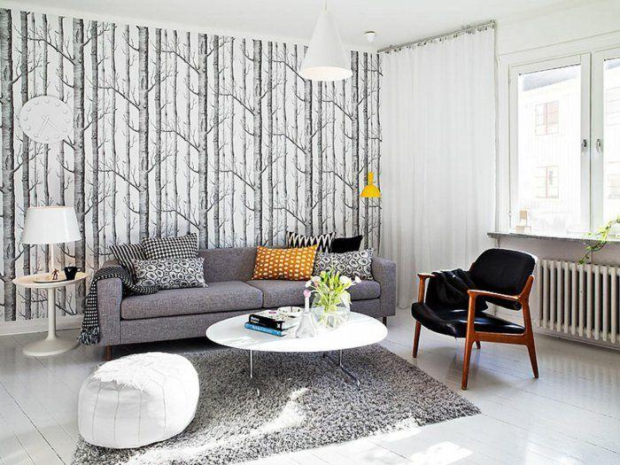 Tepeten-Ideen-Wohnzimmer-Muster-grau-schwunghaft-fototapete 2 - wohnzimmer orange grau