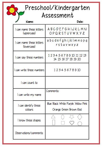 Delicate image with regard to kindergarten assessment tests printable