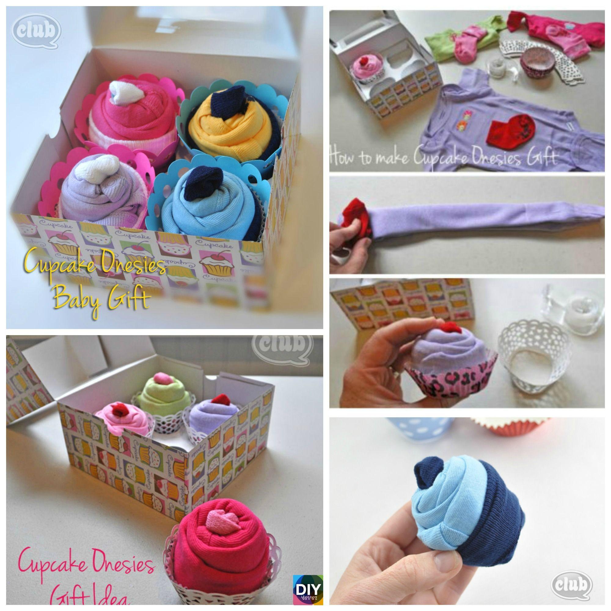 Burp cloth and baby sock cupcake tutorial.