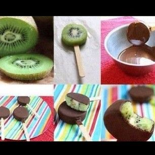 Instagram photo by diy.postss - Yumm Cut up some kiwi, put one slice on a popcile, dip it in chocolate and put it in the fridge for a whil...