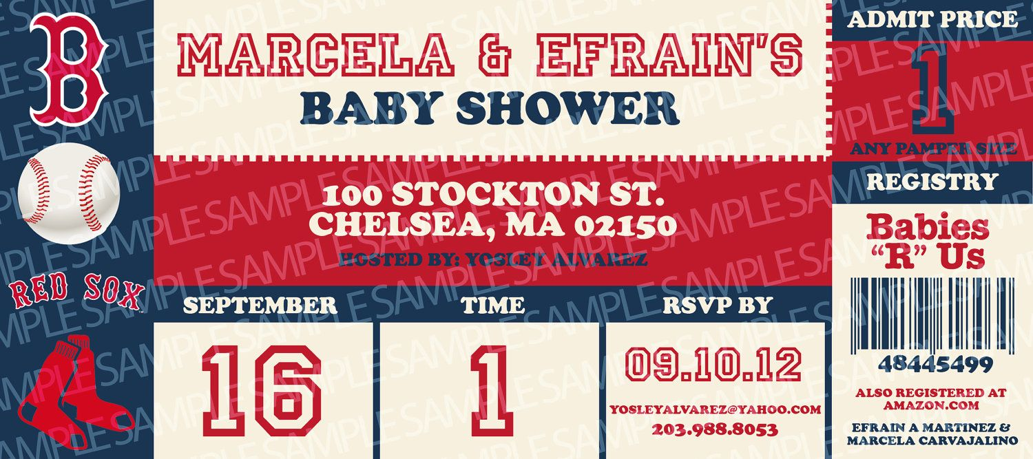 BOSTON RED SOX Sports Ticket Baby Shower Invitation - Digital ...