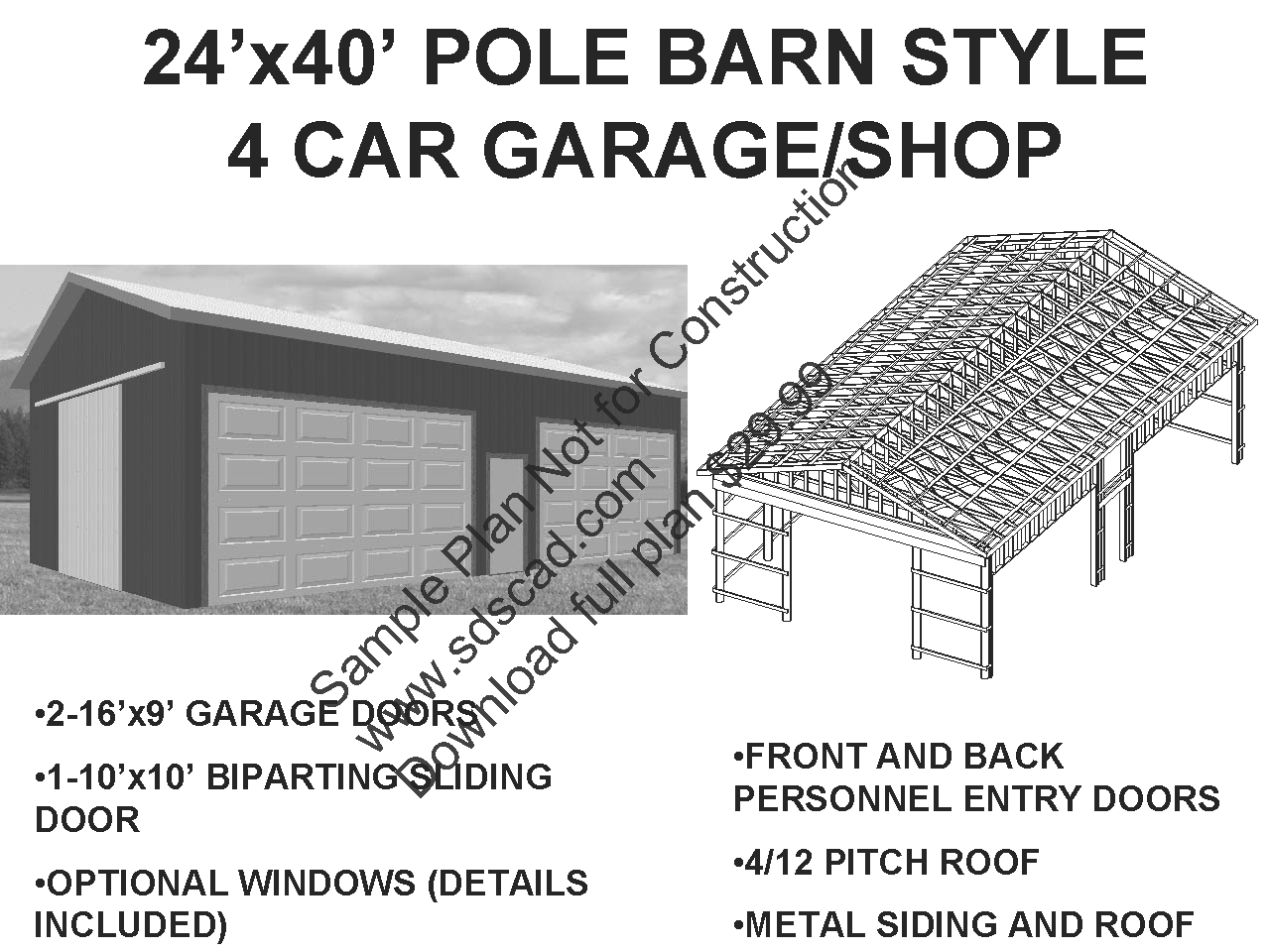 Pole barn plans sds plans pole barns pinterest for Pole barn blueprints free