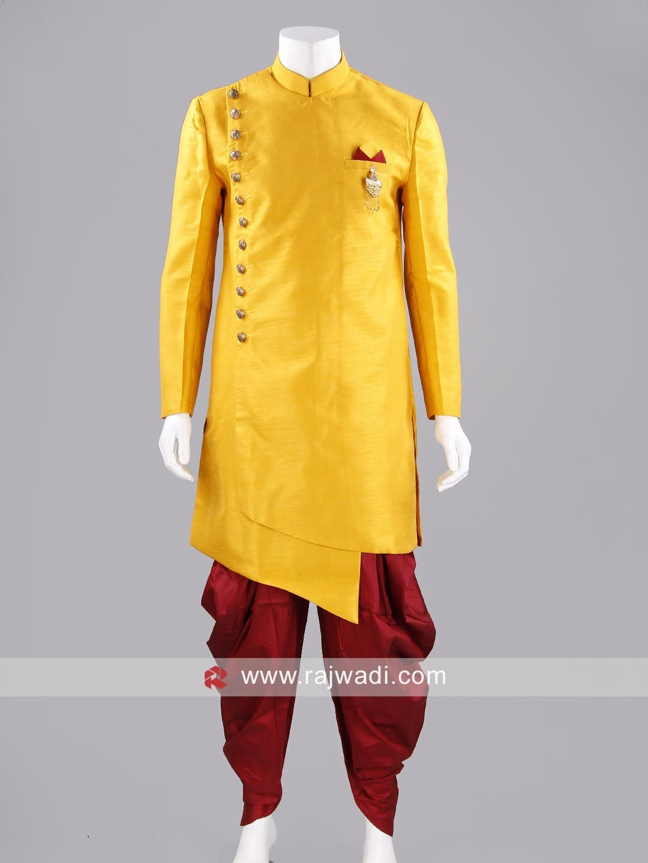 Golden yellow color indo western rajwadi indowestern trendy
