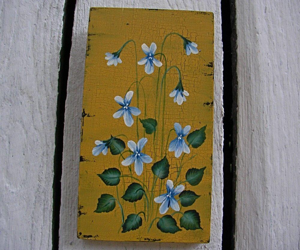 Primitive Folk Art Original Blue Violet Painting Country Farmhouse ...