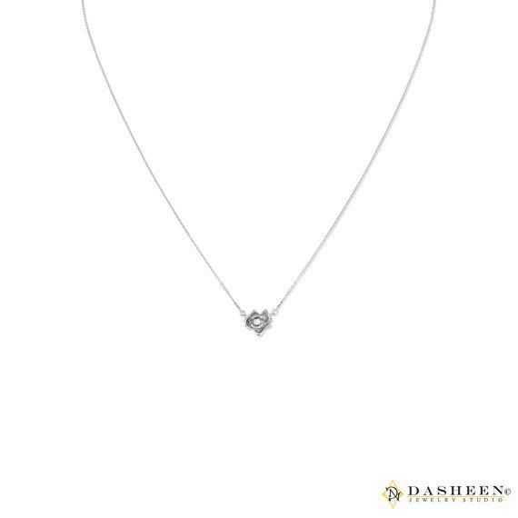 Custom 14K White Gold and Diamond Rose by DasheenJewelryStudio
