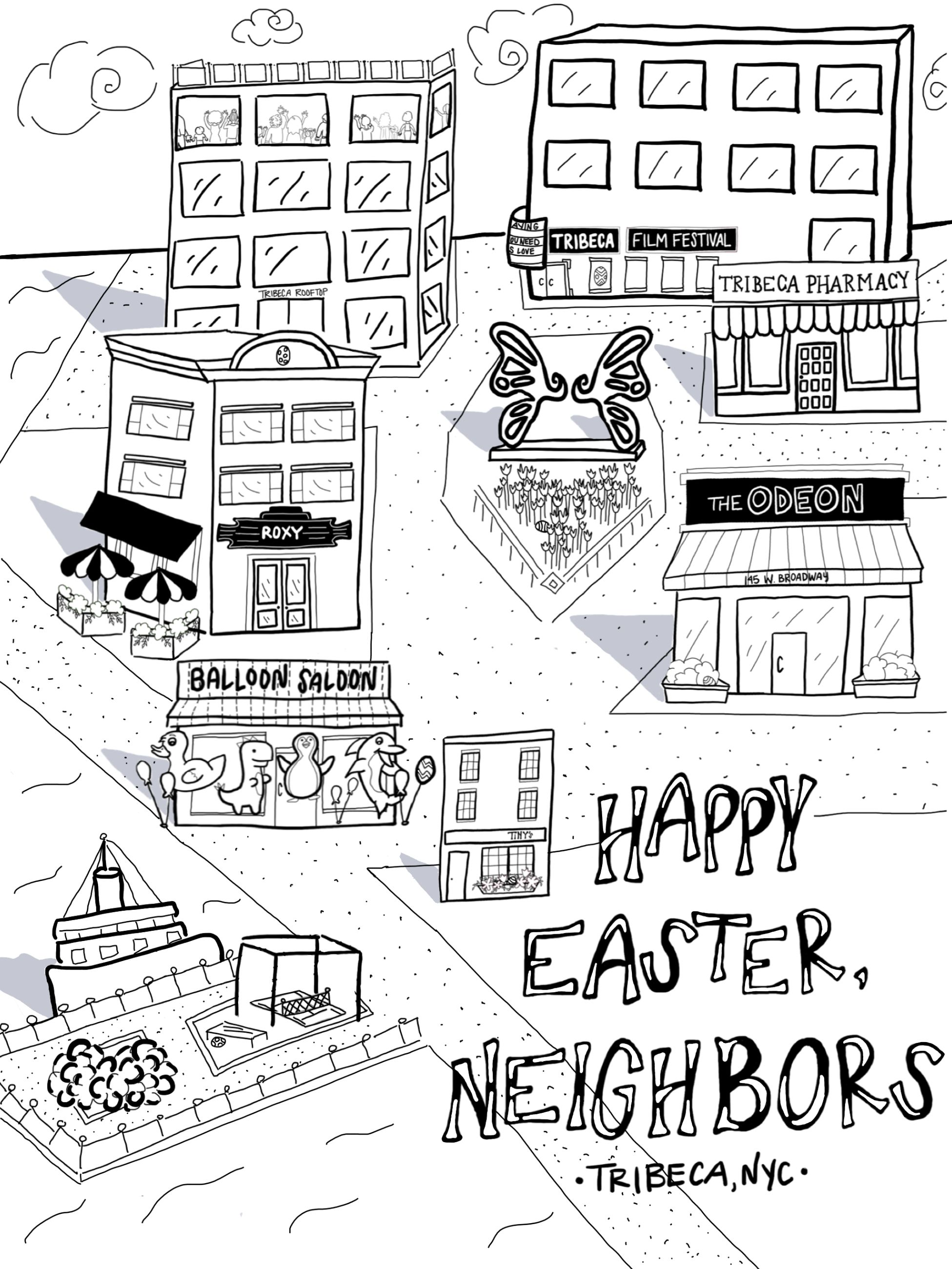 Neighborhood Easter Egg Hunt Coloring Page Coloring Pages Easter Egg Hunt Game Inspiration