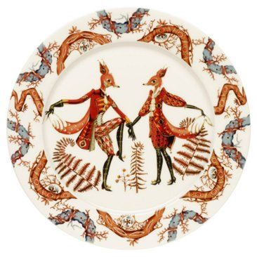 """Check out this item at One Kings Lane! Tanssi 10.6"""" Dinner Plate, White/Multi"""