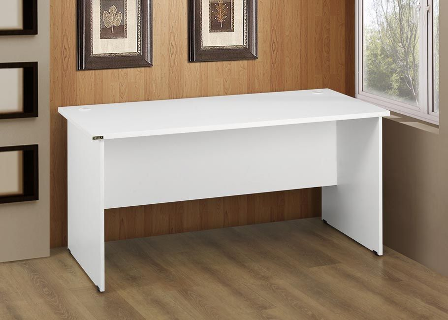 Stella White Melamine Office Desk With Cable Entries For Keeping Your Computer Wires Tidy