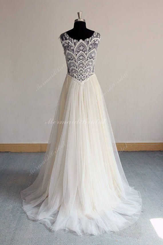 af1f6effc137 Unique Open Back Aline Tulle Lace Prom Dress, Elegant Vintage Boho Wedding  Dress, Homecoming Dress W