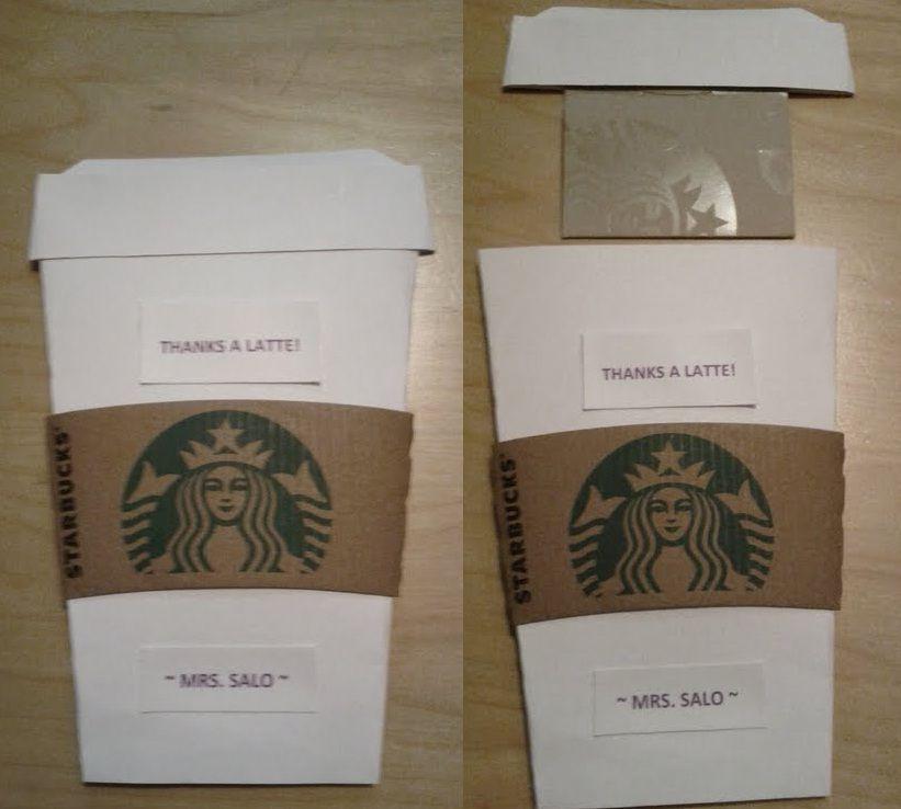 Teacher appreciation thanks a latte starbucks gift card thanks a latte starbucks gift card holder made with card stock starbucks coffee sleeve negle Gallery