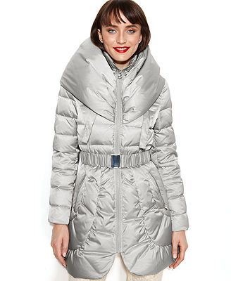 Laundry By Shelli Segal Coat Pillow Collar Hooded Puffer Puffer