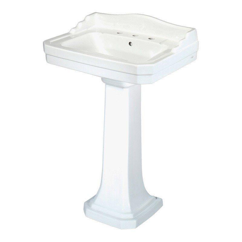 Pegasus Pedestal Sink With 8 Inch Faucet Center Drillings This Is It   W  Bronze Faucet