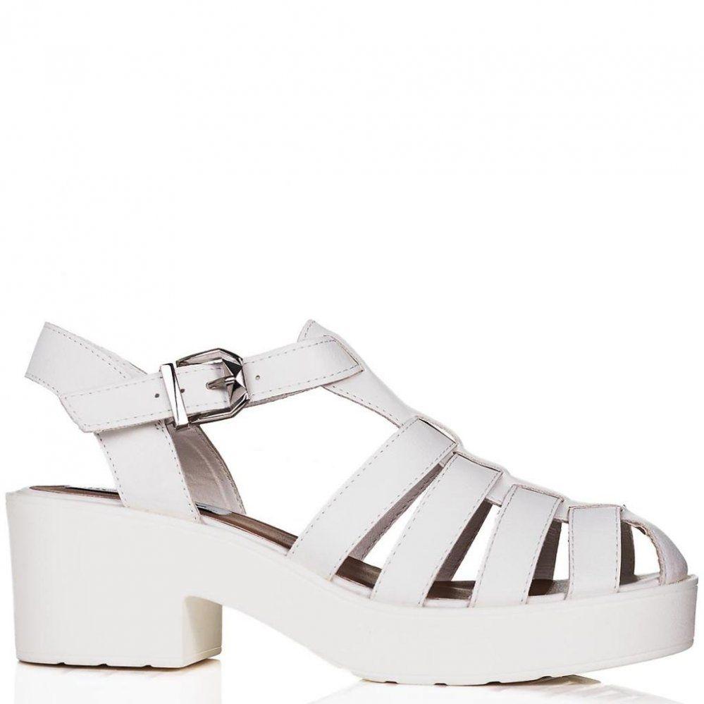 white platform heels | Buy OCEAN Chunky Sole Platform Gladiator ...