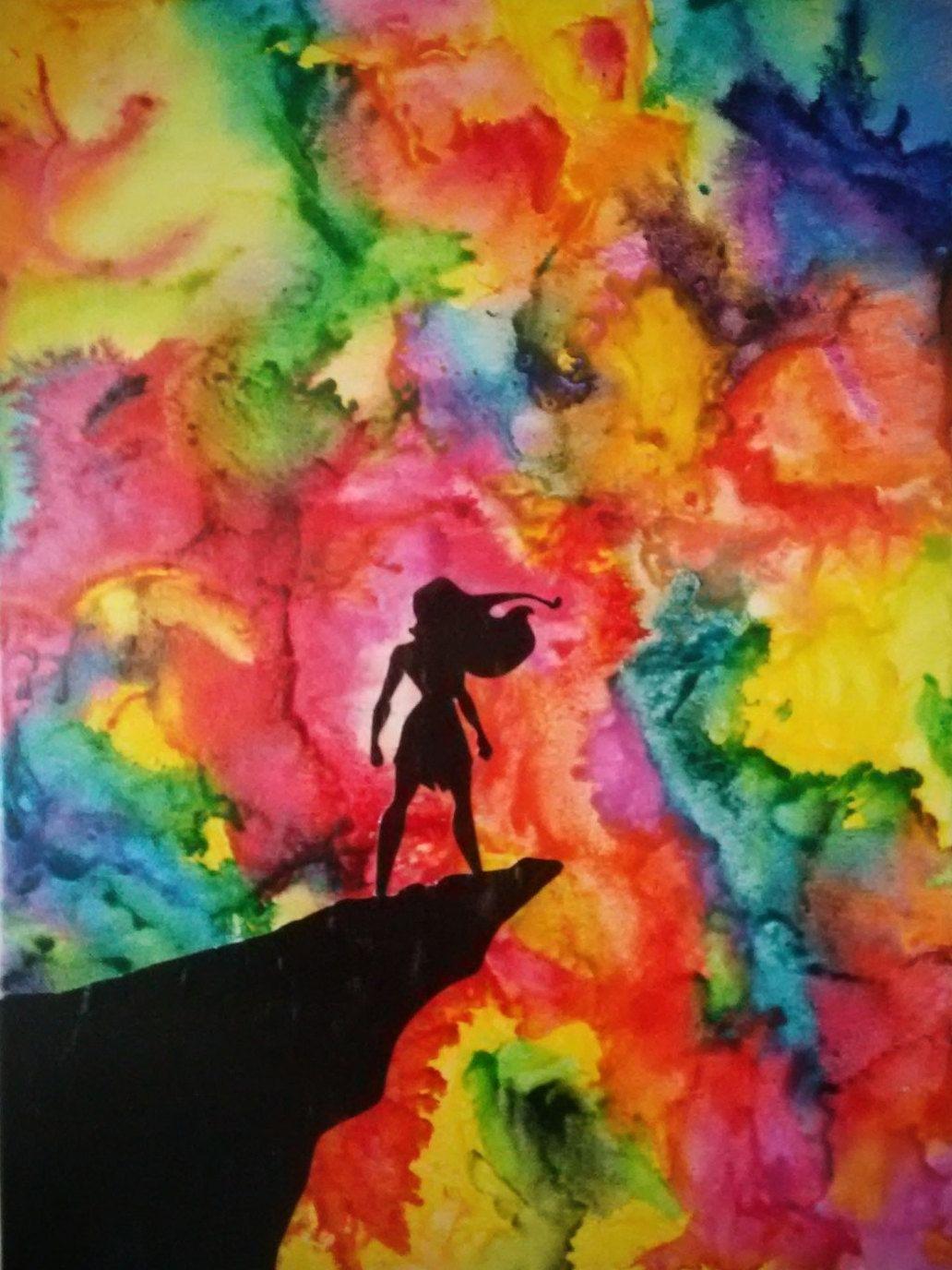 disney crayon art pocahontas silhouette - melted crayon art - wall art - watercolor art