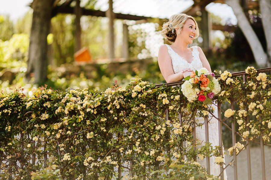 Along the Upper Path - Floral Vines in Bloom on the Bannister.  #MountainWinery #WineryWedding #markjanzenphotography