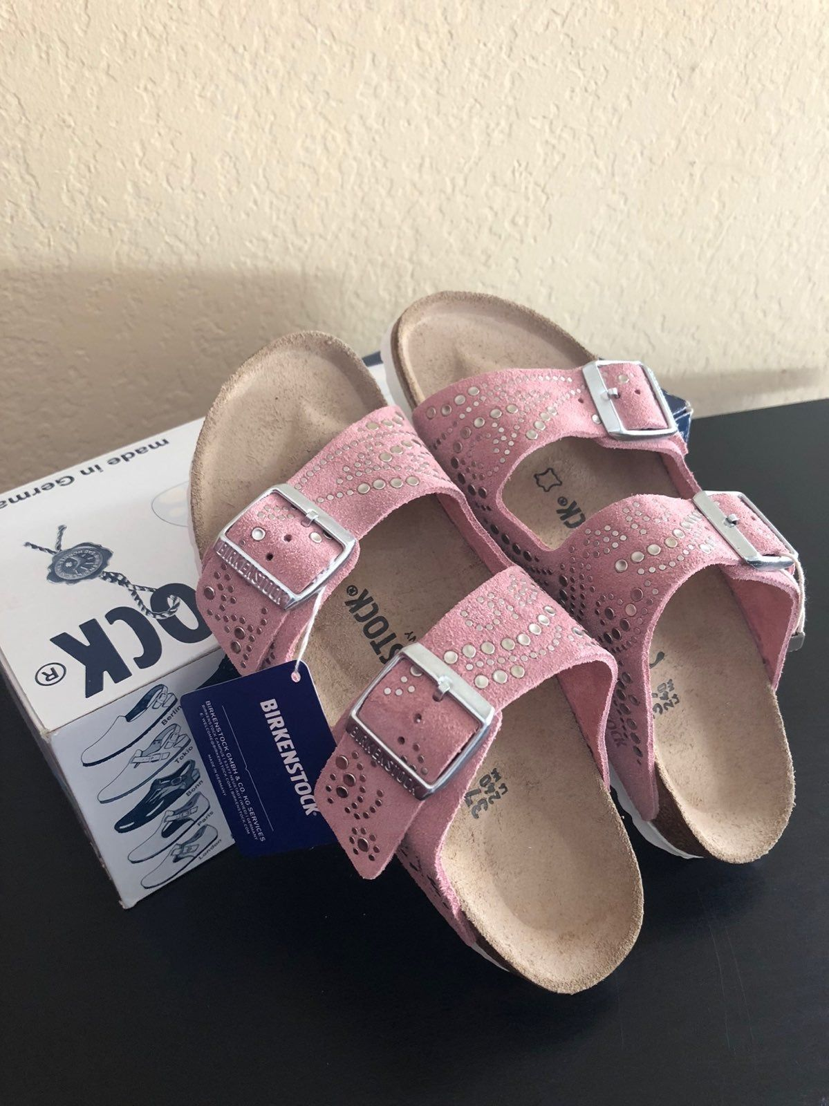 Brand New Unused Birkenstock Sandal For Women Us Size 7 With Box And Tag Material Is Soft Leather With Stud Bought At Birkenstock Sandals Birkenstock Sandals