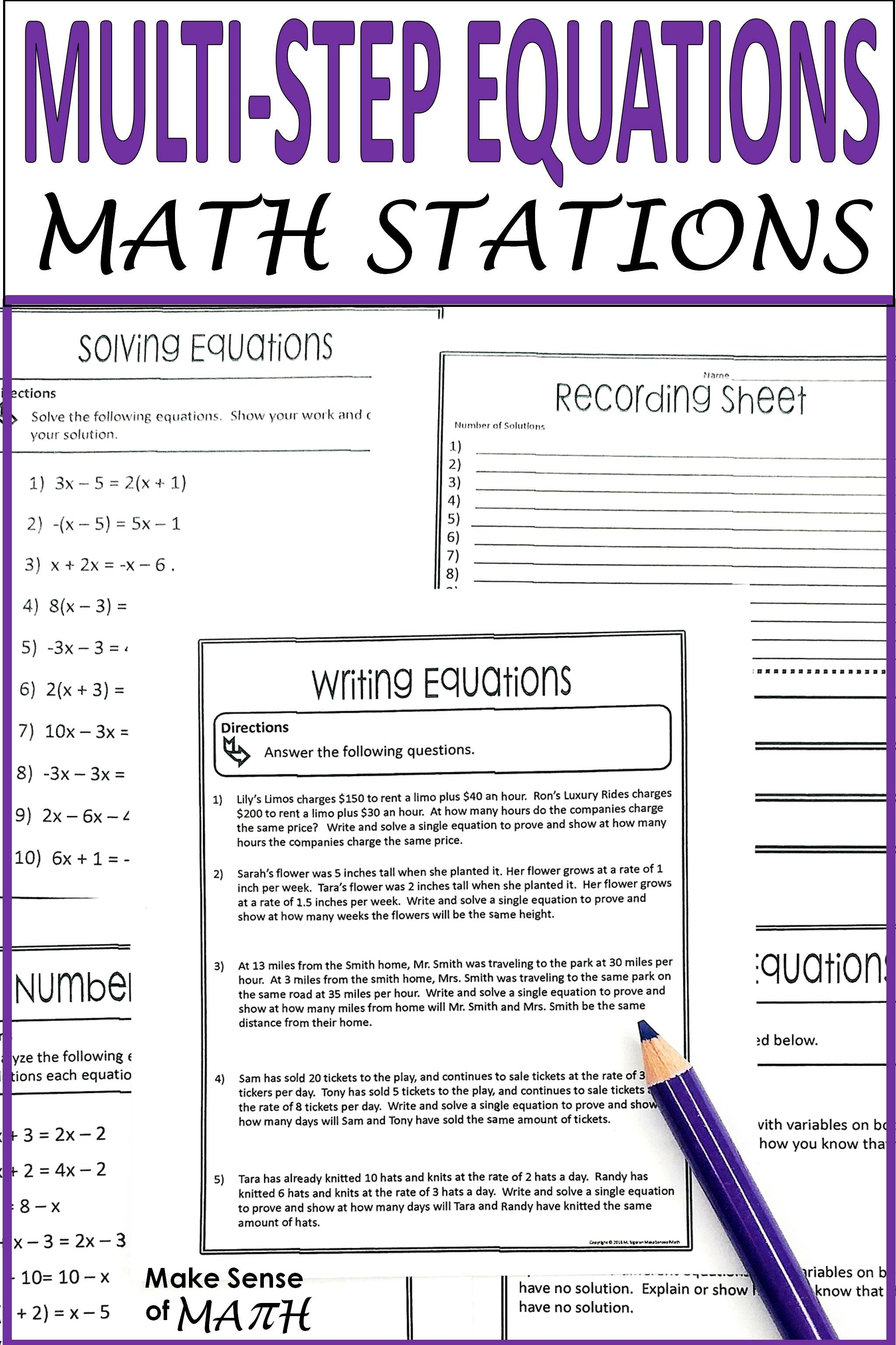 Check Out These Fun Solving Equations With Variables On