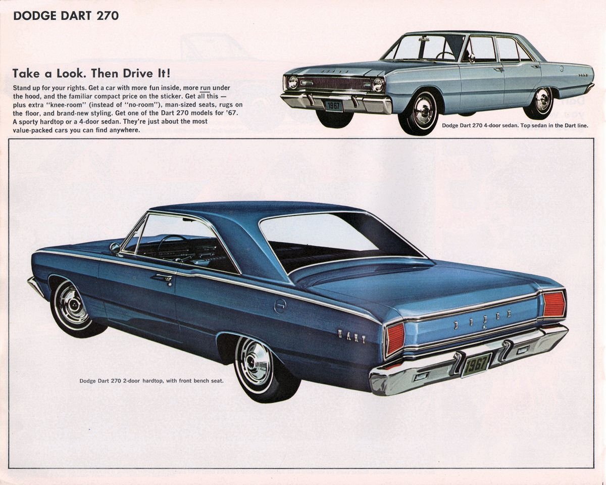 1967 Dodge Dart >> 1967 Dodge Dart 270 2 Door Hardtop And 4 Door Sedan Car