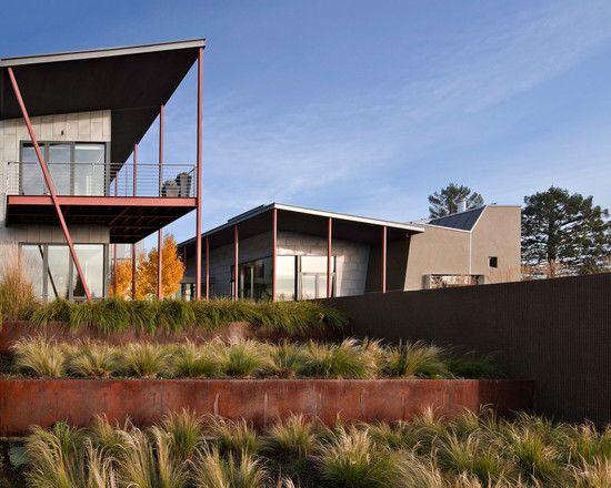 garten hanglage ideen gräser metall ebenen stützmauer Garten - ideen gartengestaltung hanglage