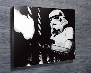 STORM TROOPER ART II $26.00–$741.00 This fantastic black and white canvas artwork features a storm trooper in action from Star Wars. As with all art on this site, we offer these prints as stretched canvas prints, framed print, rolled or paper print or wall stickers / decals. http://www.canvasprintsaustralia.net.au/  #giftsfordad #photostocanvasonline