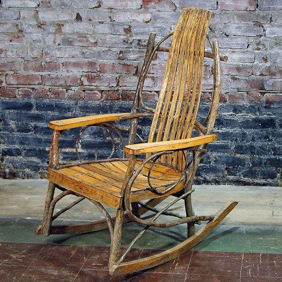 Vintage Wooden Rocking Chair Bentwood Adirondack Twig