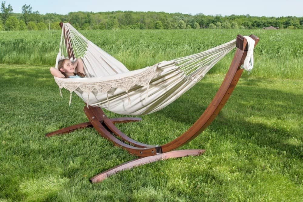 vivere double cotton hammock with solid pine arc stand  8ft  vivere double cotton hammock with solid pine arc stand  8ft      rh   pinterest