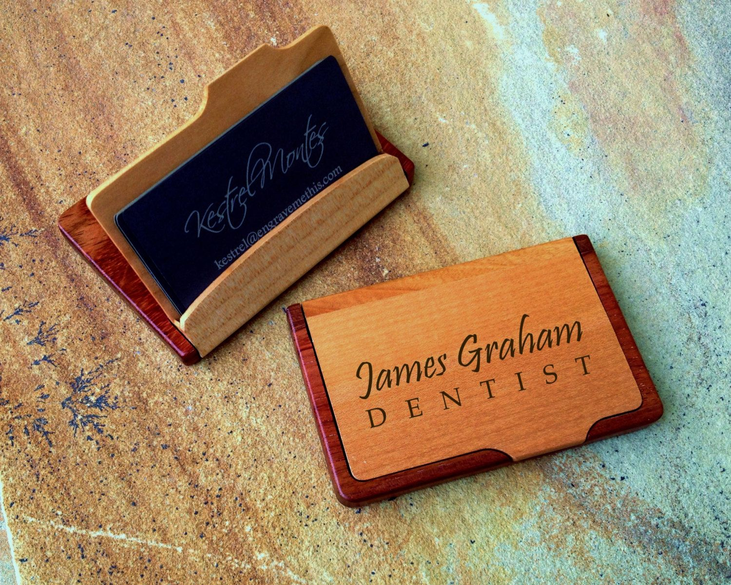 Personalized Wood Business Card Case, Custom Engraved Card Holder ...
