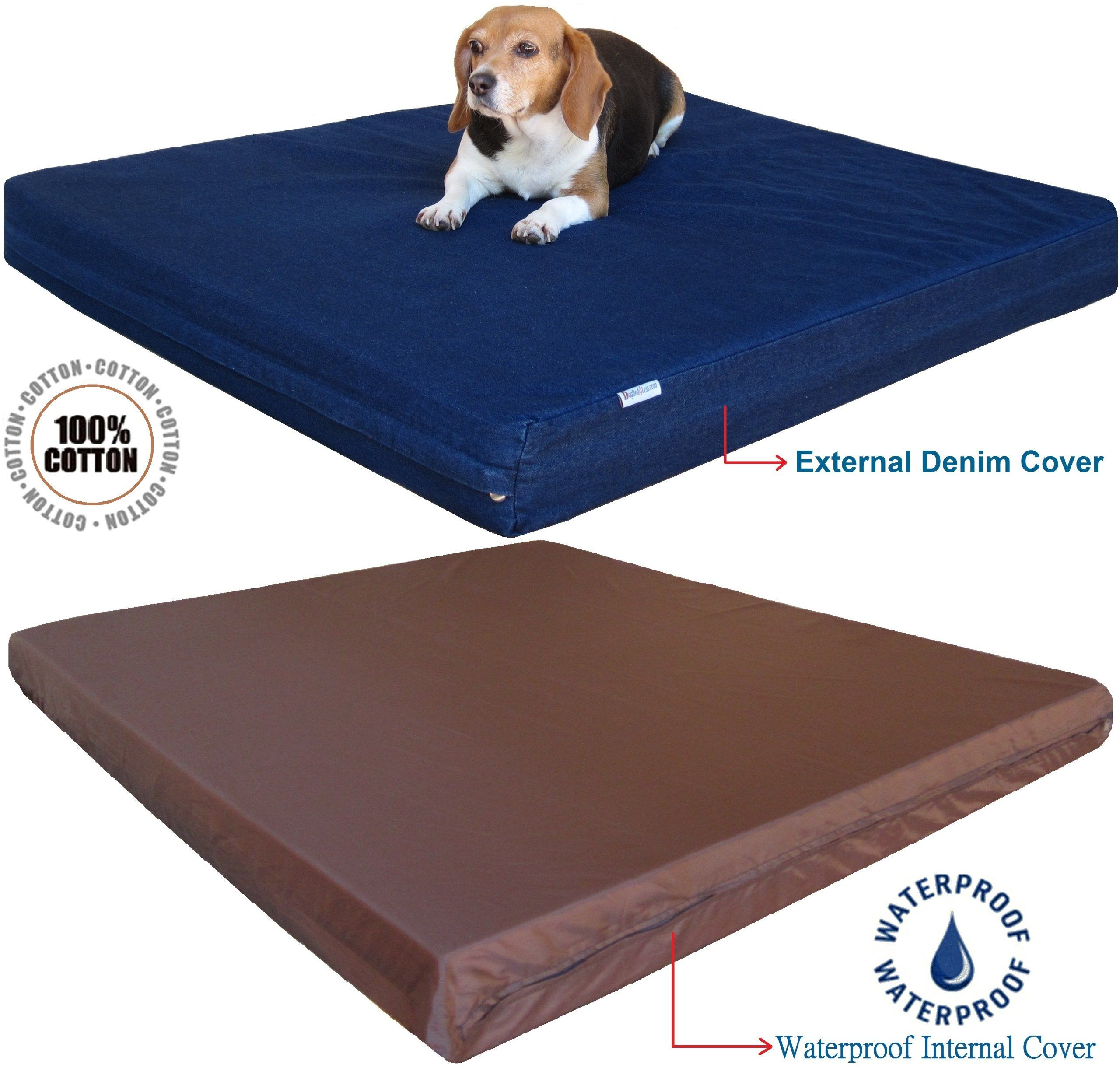 Dogbed4less Large Orthopedic Gel Memory Foam Dog Bed