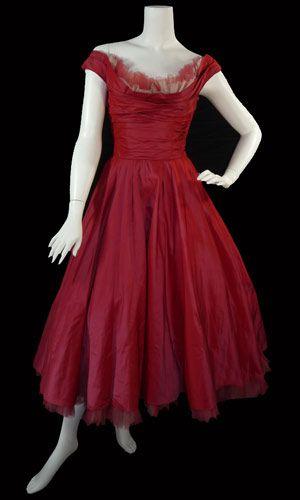 ceil chapman satin dress 1950's