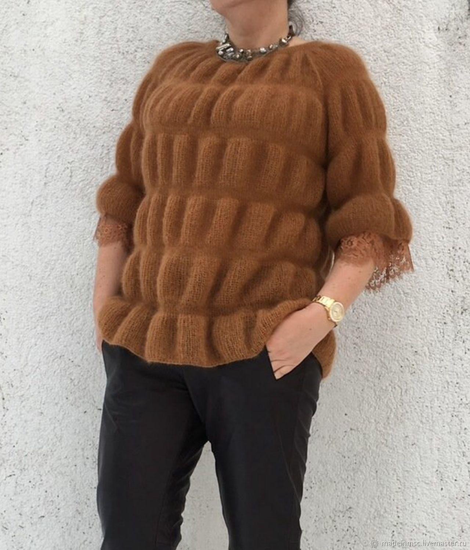 305bf553e80 Кофты и свитера ручной работы. Заказать Кофточка Туника мохер шелк кружево  Шантильи Карамель. Вязание