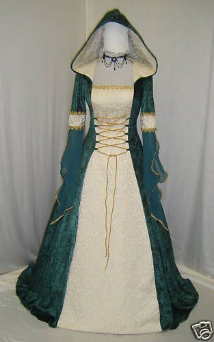 Medieval Ren Hooded Wedding dress handfasting celtic