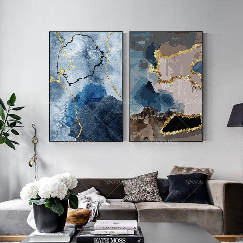 Gold Art 2 Pieces Wall Art Set Of 2 Wall Art Framed Painting Etsy Painting Canvas Painting Painting Frames